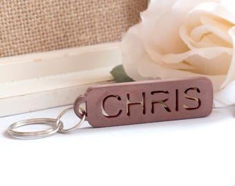Custom Copper Keychain, Custom Name Keychain, 3D Printed Keychain, Copper Initials Keychain, Copper Patina, Customized Name Keychain