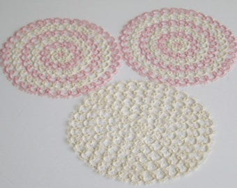 Vintage Tatted Doilies Hand Made Tatting Vintage Pink Tatted Doily