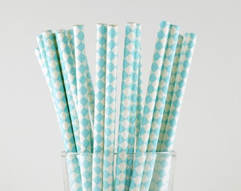 Light Blue Diamond Paper Straws - Mason Jar Straws - Party Decor Supply - Cake Pop Sticks - Party Favor