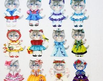 Animal Cat Neko 02 Iron Print Transfer Sheet transfer seal