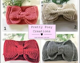 Knit headband ear warmer womens ladies girls beanie warm bow boho ivory grey pink chunky maroon scarf winter