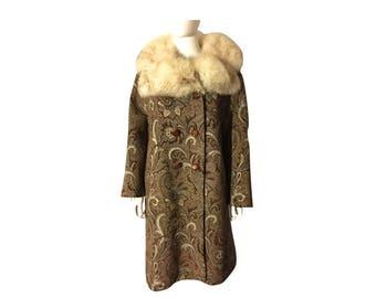 Vintage 60's Brocade Coat with Fox Fur Collar, 60s Brocade Coat, Fox Fur Collar