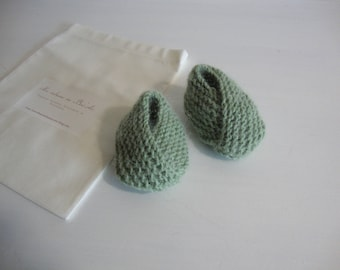 baby booties 0-3 months green almond - knitted-birth gift
