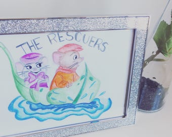 The rescuers coloured drawing // a5 // coloured pencil drawing
