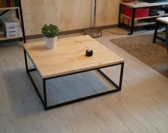Square coffee table industrial iron and wood