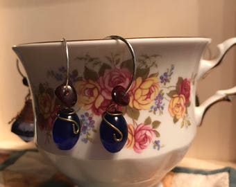 Blue drop glass bead with garnet earrings