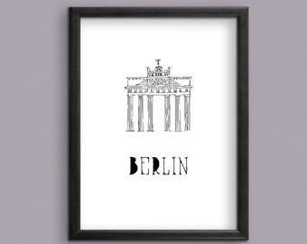 Berlin's Landmark Brandenburg Gate Digital Art Print for instant download - Berlin's Brandenburg Gate Instant downloadable Art Print.
