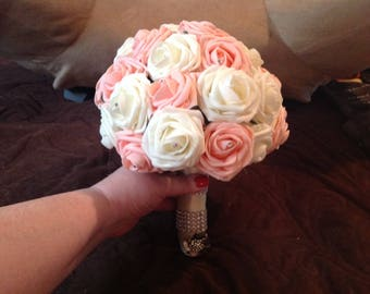 Ready to Ship pink and white wedding/bridal decorative foam flower bouquet with diamond look pins and a ribbon handle with bling wrap