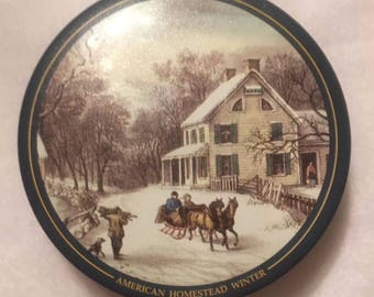 Currier & Ives  American Homestead Winter Tin