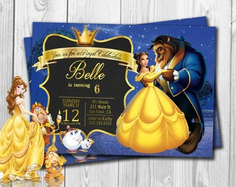 Beauty and The Beast Invitation, Beauty and The Beast Birthday, Beauty and The Beast, Bella, Disney, Free Thank You Cards, Princess
