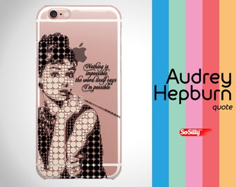 Clear Audrey Hepburn iPhone case, clear iPhone 6 case, clear iPhone 7 case, clear iPhone 6S case, iPhone 6 case clear, clear phone case