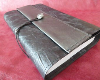 18 cm book, book adaptable in black and silver crushed kid leather