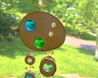 Suncatcher/garden art-green/blue