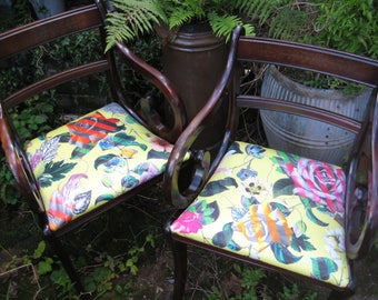 Pair of Regency Style Salon Chairs, Newly Reupholstered in 'Malmaison' Fabric by Christian Lacroix