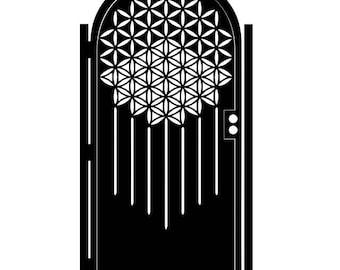 Steel Flower of Life Gate - Geometric Metal Art - Sacred Geometry - Ornate Wall Panel - Patterned Wall Art - Steel Art - Astronomical Art -