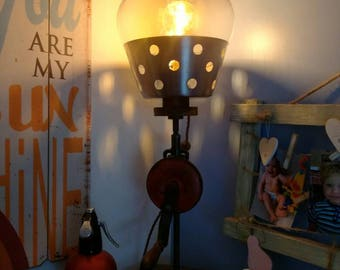 Unique vintage hand drill steam punk Edison lamp . Would be great as an accent lamp or desk lamp .