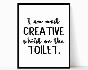 Toilet Sign - Bathroom Printable - Funny Bathroom Wall Art - Funny Bathroom Decor - Bathroom Wall Decor - Bathroom Prints - Desk Accessories