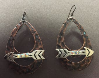 Copper Teardrop Earrings with Silver Arrows