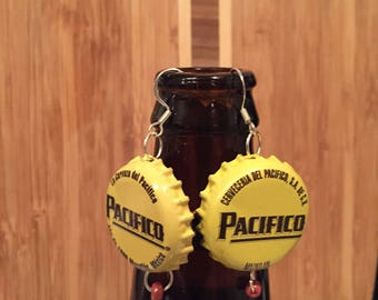 Pacifico beerings made from up-cycled beer bottle caps.