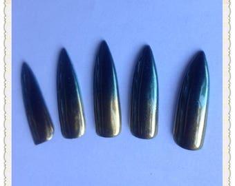 gold green holo ombre press on nail hime gyaru cosplay nail