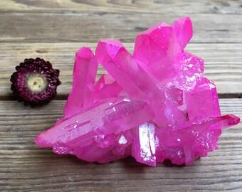 Rose Aura Quartz Cluster
