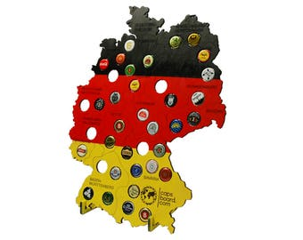 Beer caps map of Germany, colored, with stand, Beer Gifts