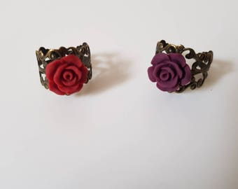 Romantic retro ring with rose red or Burgundy Red wine, how bronze metal lace