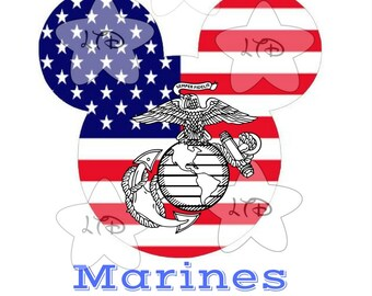 Proud To Serve Marines Mickey Head Transfer , Digital Iron Ons , DIY