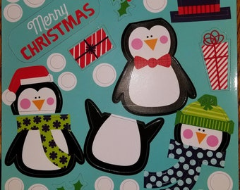 24 Pc Christmas Penguins Magnets,Refrigerator Magnets,Fridge Magnets