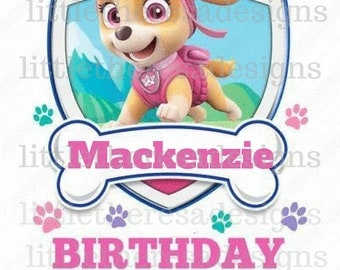 Paw Patrol Skye Birthday Girl Digital Image,Digital Transfer,Digital Iron On,Diy
