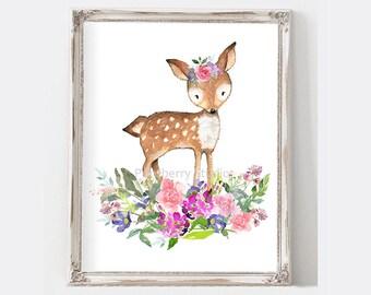 Deer Nursery Art, Deer Nursery Decor, Woodland Nursery Art, Watercolor Deer Print, Girls Nursery Art Purple, Instant Download