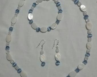 Cornflower Blue/Lavender Cat's Eye with Mother of Pearl (#45)