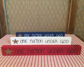 Patriotic One Nation Under God Wooden Sign