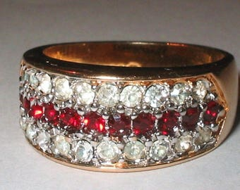A Men's Impressive 18k Gold Vermeil Ruby & Cz Stones Ring! Sz 9.5 Solid 925 Sterling