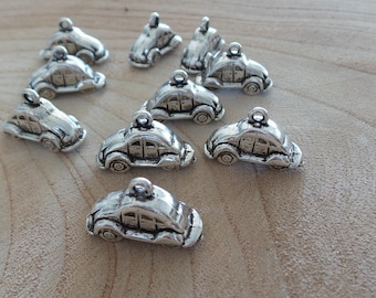 Set of 5 charms car silver metal