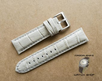 Textured White 22 mm Leather Watch Strap, 22 mm Genuine Leather Wrist Watch Band Leather Watch Bands Watchband White 22mm Watch Straps