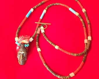 Coral, Heshi and Bronze Necklace