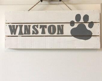 Wooden Dog Name Sign