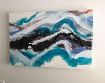 Fiery Mountain - Landscape Resin Art