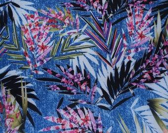 Palms Bubble Crepe Blue Fabric