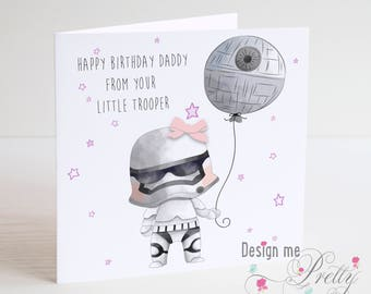 Star Wars Stormtrooper Birthday Card - Dad Daddy - Daughter