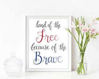 Land of the Free July 4th Memorial Day Calligraphy 8x10 Printable