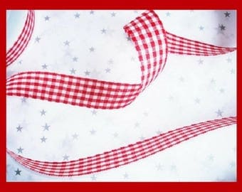 "Vichy checkered 2,5cm   Red and White Check Plaid -  ""Vichy"" Red White Gingham Craft  Ribbon"