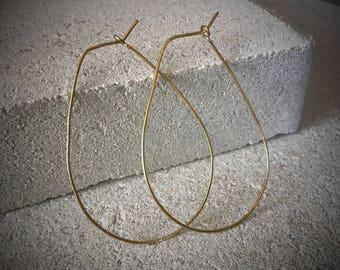 Gold Teardrop Hoops / Teardrop Hoop Earrings / Lightweight Gold Hoops / Gold Hoop Earrings / Thin Gold Hoops