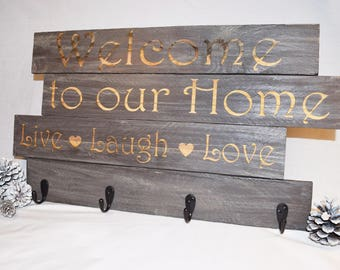 Engraved Welcome to our Home, Live Laugh Love | 20x14 | Welcome | Home Decor | Pallet Wood | Laser | Engraved | Coat Rack | Towel | Rustic
