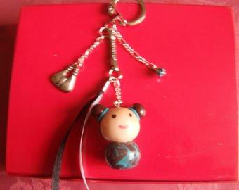 kokeshi in polymer clay keychain
