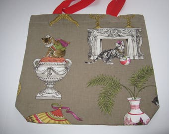 More Crazy Cats Taupe Shopping/Tote Bag, Different Cats