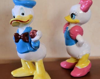 Set of Vintage Walt Disney Daisy and Donald Duck Ceramic Figurines made in Japan 1950's 1960's Lovely display Kids Room