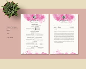 SALE !! 20% Off / Water Color Resume Template - CV/Cover Letter Template *C