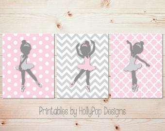 Pink gray nursery art Digital download Printable wall art Girls room decor Baby girl nursery decor Ballerina wall art Ballet decor Girl art